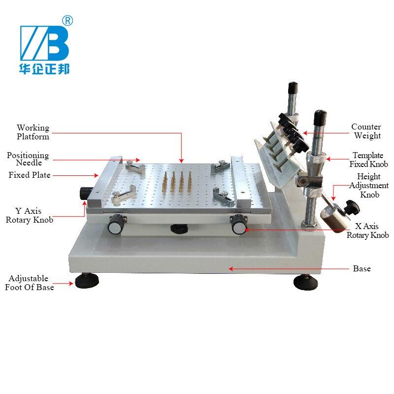 Imprimante manuelle de pochoir de SMT/Machine dimpression manuelle décran en soie de carte PCB