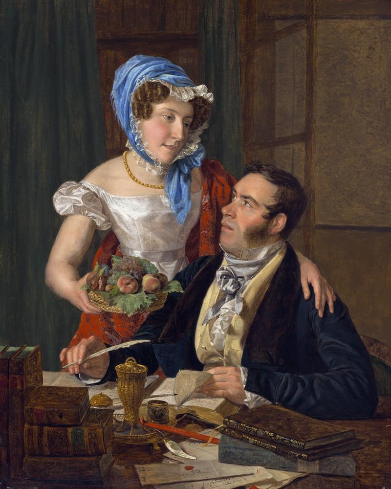 Pintura figurativa clásica lienzo retrato arte póster pintura de cancha familia parejas cerca escritorio arte decorativo moderno