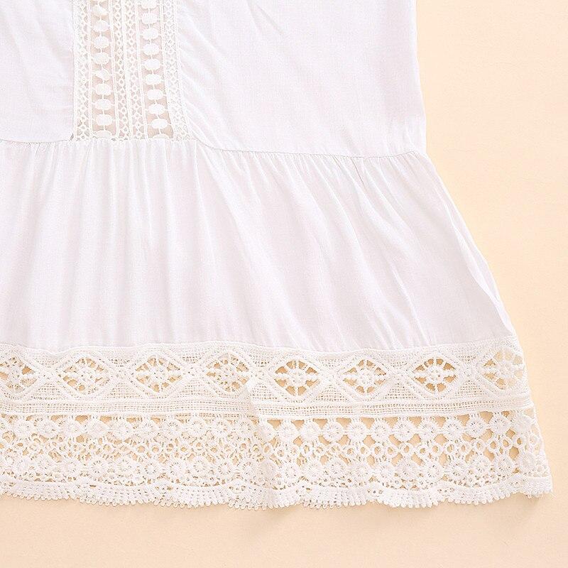 2017 bohemian style kobiety lato white dress sexy dorywczo v szyi 3/4 flare rękaw koronki szydełko loose mini sukienki plażowe vestidos 16