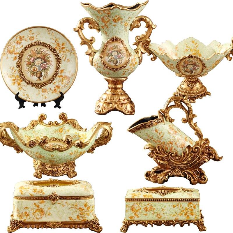 De gama alta de estilo europeo salón adornos regalo de boda hogar decorativo artesanía de gama alta plato de fruta florero
