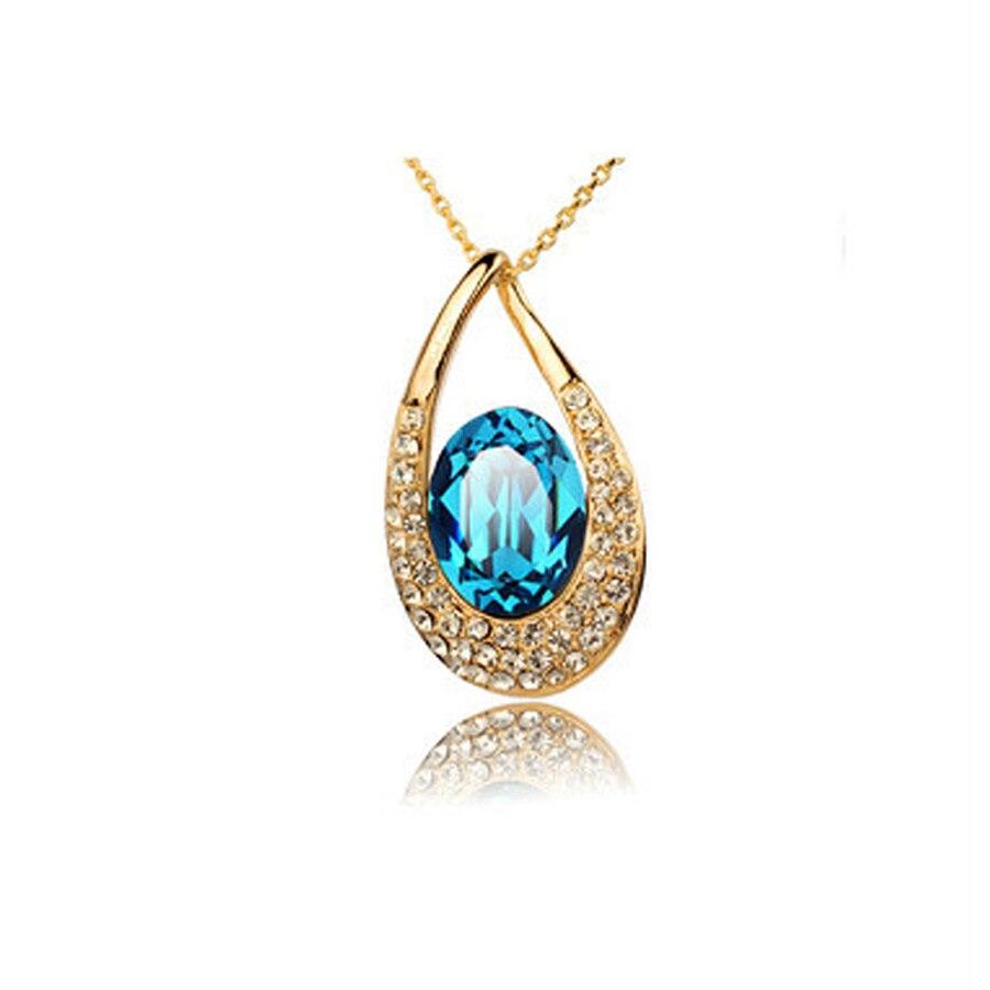 Collar de cristal en forma de lágrima, joyería colorida con diamantes de...