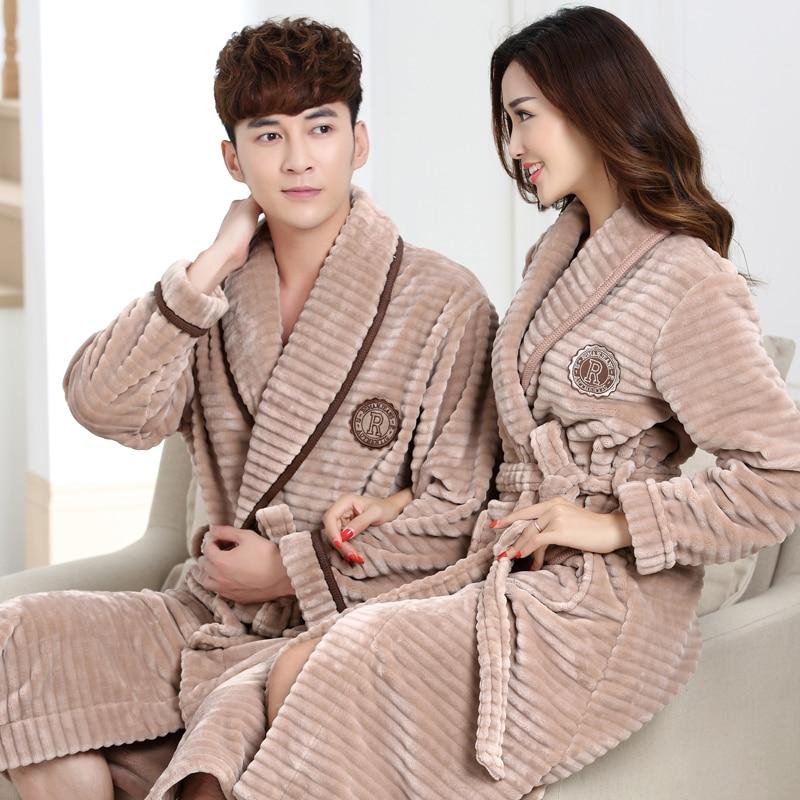 100% Coral Fleece Couples bathrobe thick flannel bathrobe winter autumn thickening terry women cotton robe men chinese kimono