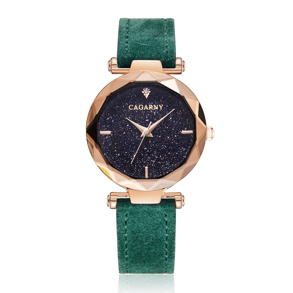 Cagarny Ladies Watches Top Brand Luxury Quartz Watch For Women Rose Gold Crystal Women's Dress Wristwatches Leather Female Clock enlarge