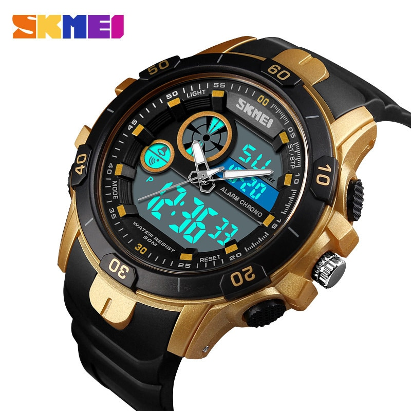 Reloj hombres reloj deportivo de exterior doble horario alarma impermeable cuarzo digital Reloj cronómetro reloj Masculino Horloge Mannen