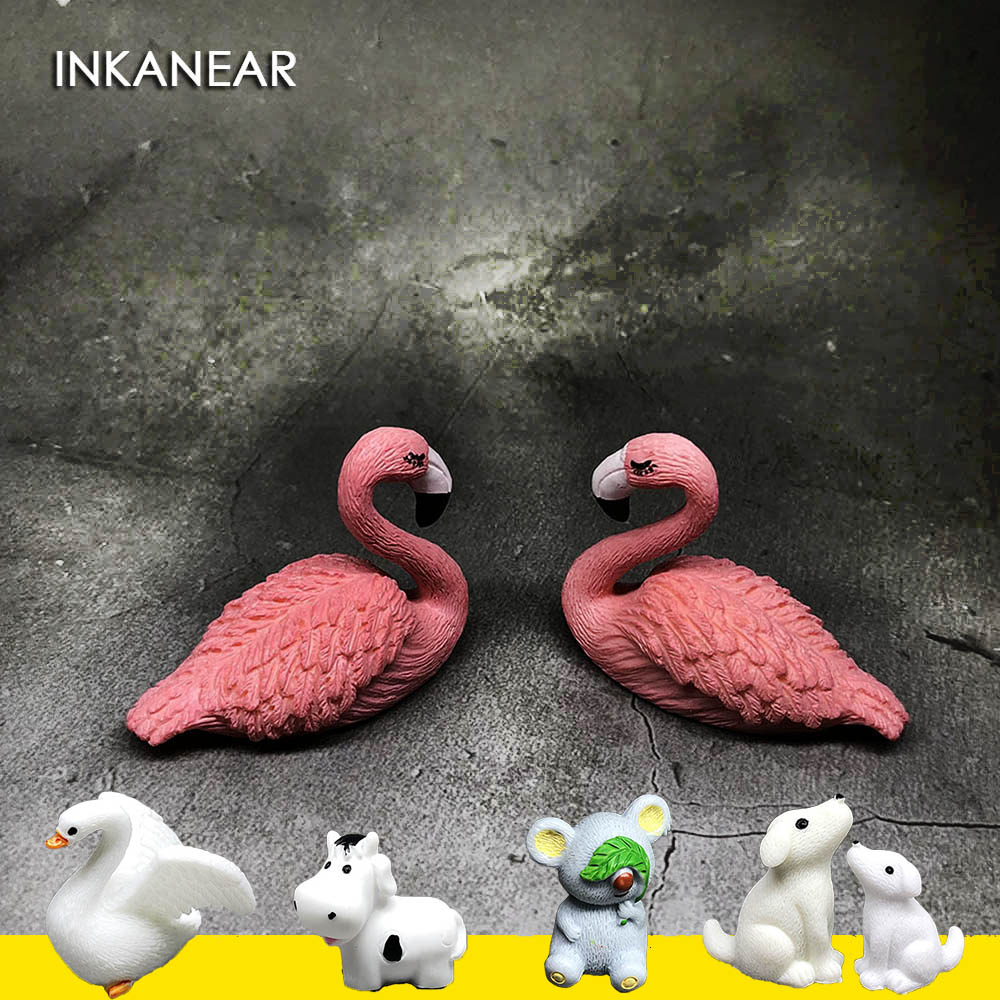 Mini Flamingo Figurine Koala Cow Cute Rabbit Dog Bird Decor for Car Mini Fairy Garden Animal Statue Miniature Resin Craft