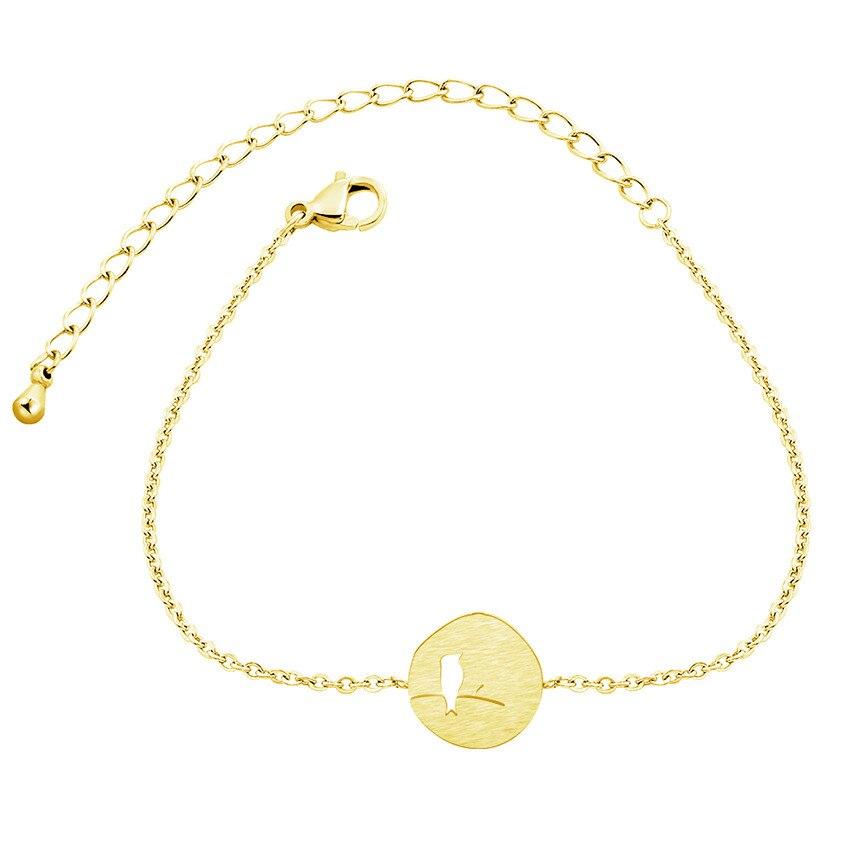 Женский браслет из нержавеющей стали ICFTZWE, золотой браслет с птичкой на ветке, 10 шт.