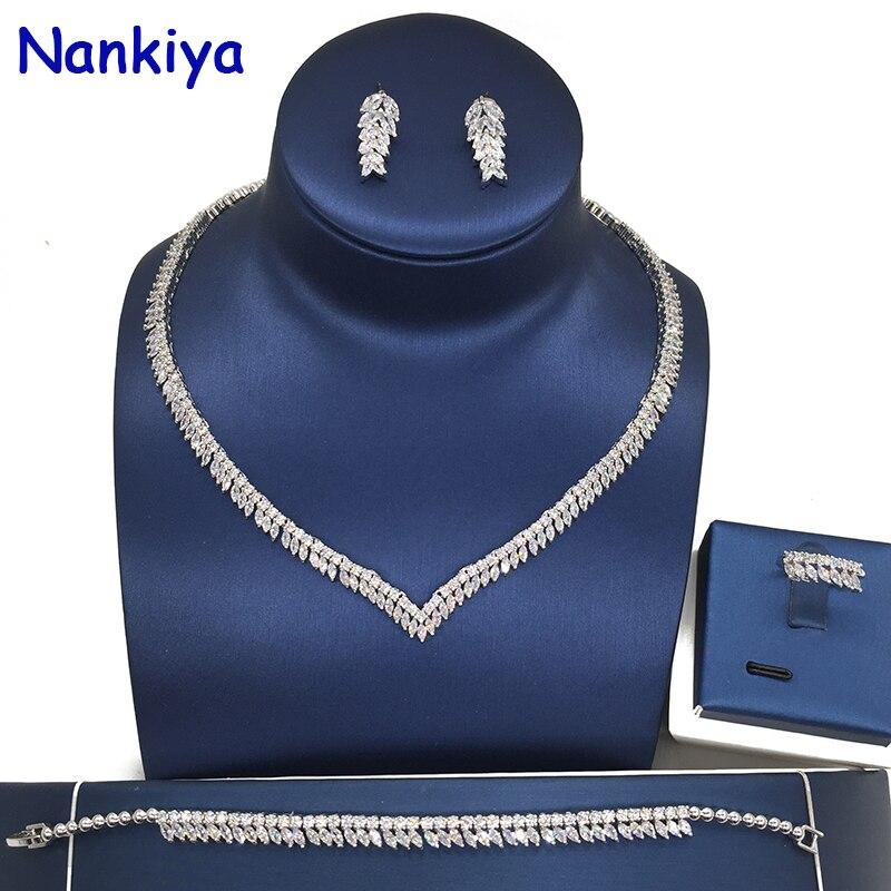 Nankiya Trendy Bridal Wedding Jewelry Sets V Leaf Shape AAA Clear Zirconia 4pcs Jewelry Set For Women Wedding Dress Party NC206