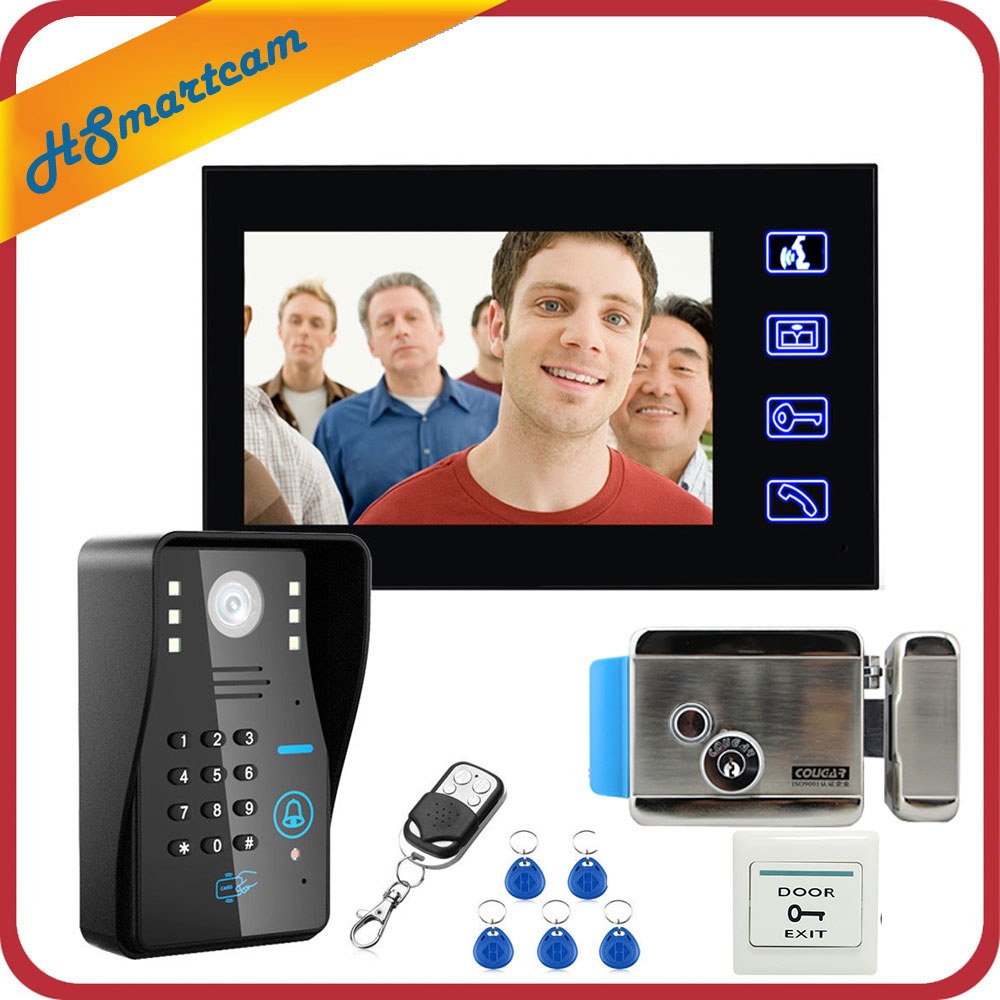 "Sistema de videoportero con tecla táctil de 7 ""para videoportero, 1 Monitor + RFID, acceso con contraseña, visión nocturna, timbre, cámara + cerradura eléctrica"