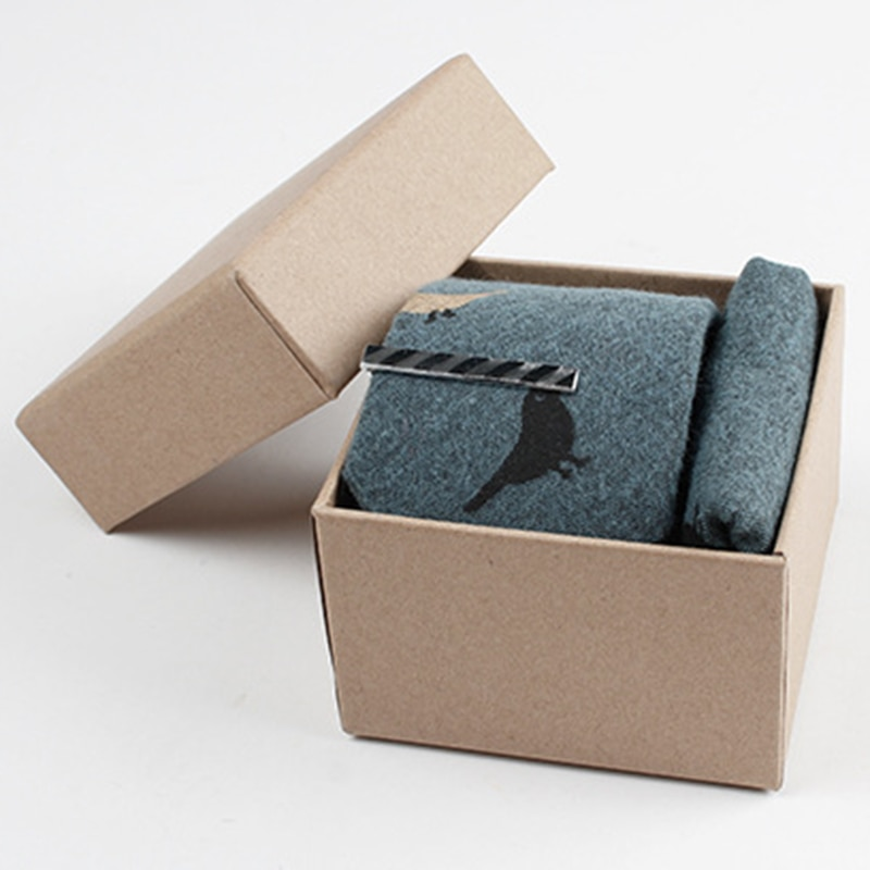 RBOCOTT de algodón para hombre corbata 6cm corbata + pañuelo/plaza de bolsillo + corbata Clip + conjunto con caja de regalo impreso pájaro pluma animal corbata para los hombres