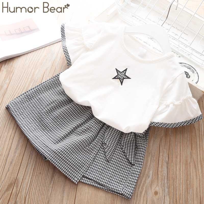 Humor Urso Das Meninas Conjunto de Roupas Crianças 2019 NOVA Marca Estrela T-shirt + Cintura Pantskirt Meninas Terno Bonito Do Bebê Dos Miúdos Roupas