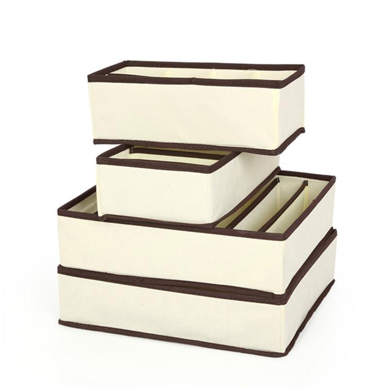 4 pcs set kotak penyimpanan penganjur beige organizer box untuk - Organisasi dan penyimpanan di dalam rumah - Foto 2