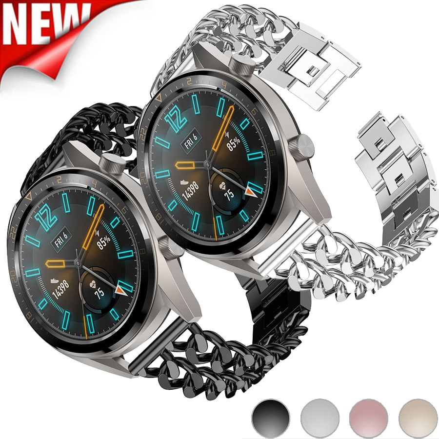 Cadena mezclilla de acero inoxidable a la moda correa para reloj HUAWEI GT reloj inteligente pulsera de Metal de repuesto correa de reloj 22mm