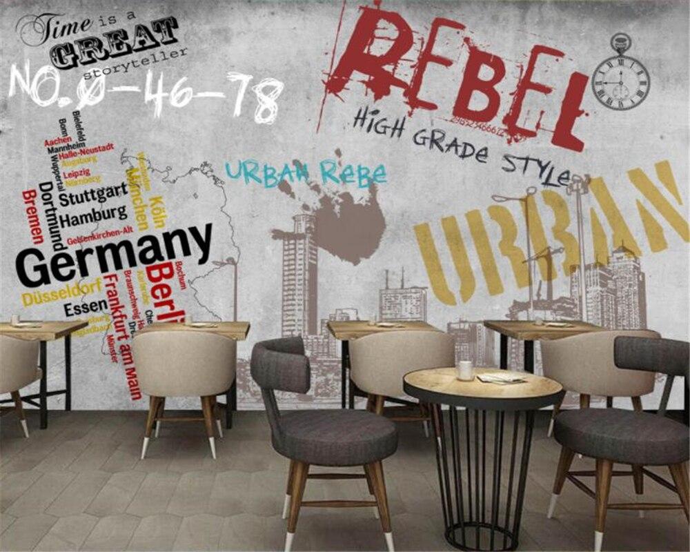 Papel tapiz personalizado Beibehang 3D, murales grandes, graffiti callejero en Europa y América, paredes de hormigón, bares, papel tapiz de pared de fondo KTV