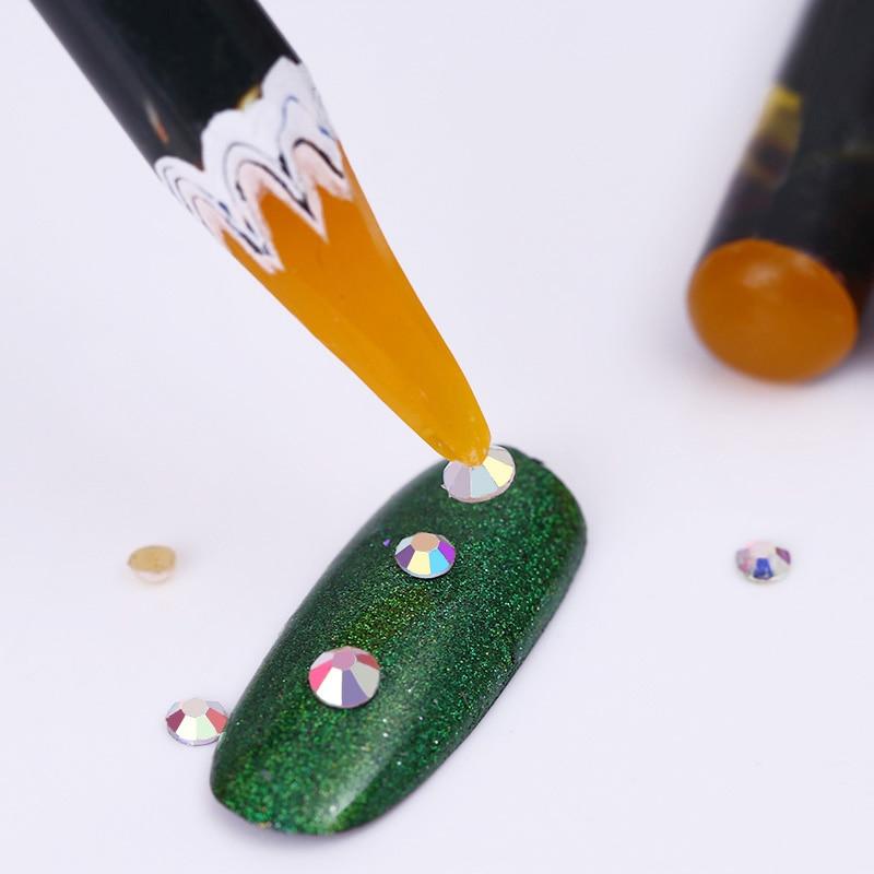 1Pc Easily Picking Up Rhinestone Picker Pen Colorful Wax Pen Nail  Tool Random Color