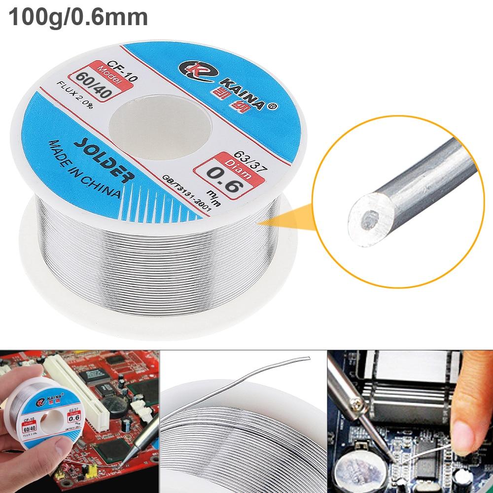 60/40 100g 0,6mm núcleo de alambre fino de estaño 2% Alambre de soldadura de flujo con colofonia y punto de fusión bajo para soldador eléctrico en caliente
