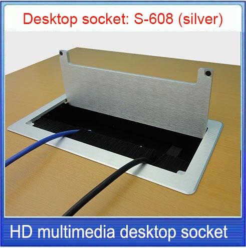 Tomada de mesa tomada/tomada de liga de alumínio, 3.5 de áudio, HDMI, caixa de informações Multimídia tomada de mesa/Pode ser personalizado tomada S-608
