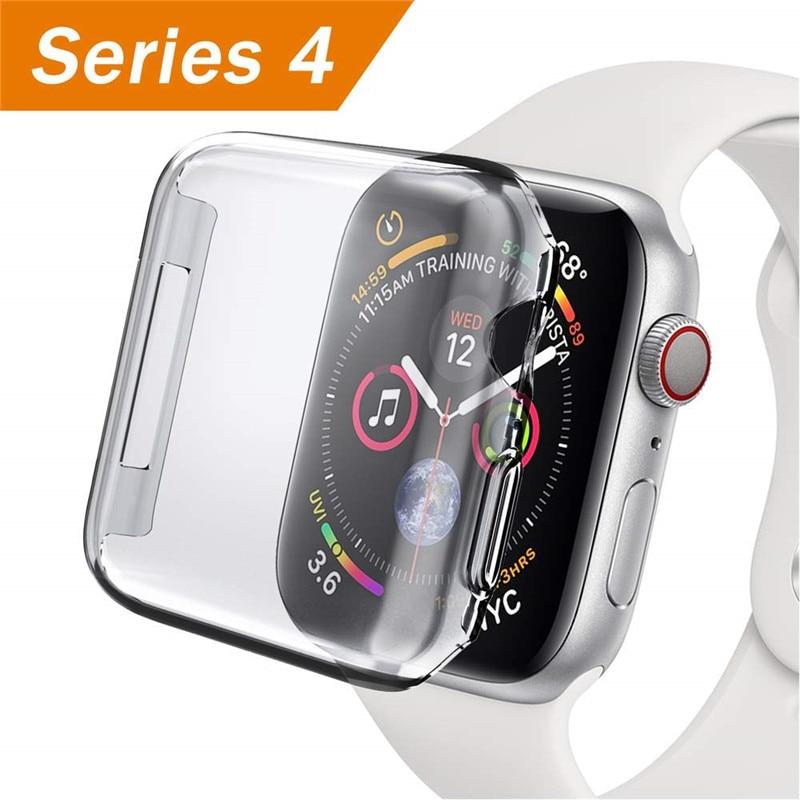 ASHEI, funda protectora completa de silicona blanda para Apple Watch, funda de TPU de 44mm, 40mm, serie iwatch 4, marco transparente ultrafino