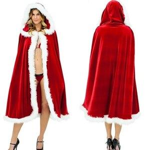 Новинка, сексуальные Рождественские костюмы для женщин, взрослых женщин, костюмы Санта Клауса, темно-красный большой плащ, нарядное платье, бесплатная доставка