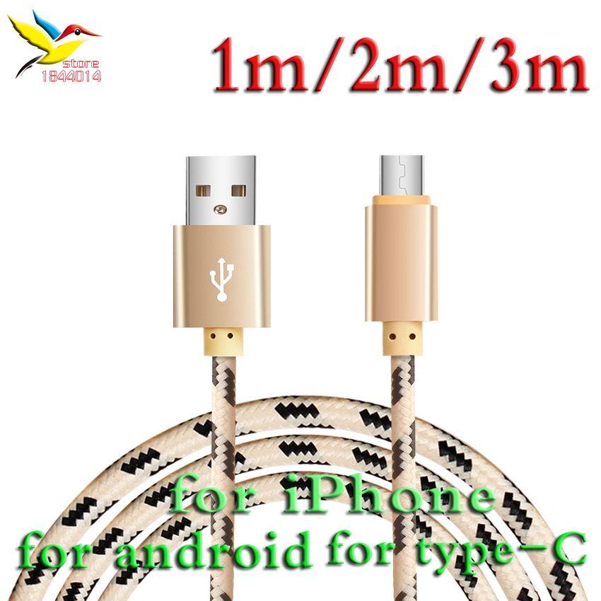 أنيق النايلون الألياف شعرية جديلة طويلة بيانات الشحن كابل 8Pin/نوع-c/5pin الروبوت إلى USB ل فون سامسونج 1m/2m/3m 100 قطعة