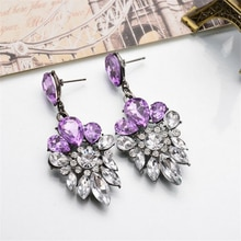 2019 New Fashion 1Pair Lady New  Crystal Glass Drill Crystal  Long Earrings For Women Drop Dangle Ea