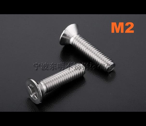 1000 pçs/lote M2 * 3/4/5/6/8/10/12/14/16/18/20/22/25 philips aço Inoxidável countersunk machine head screw DIN965