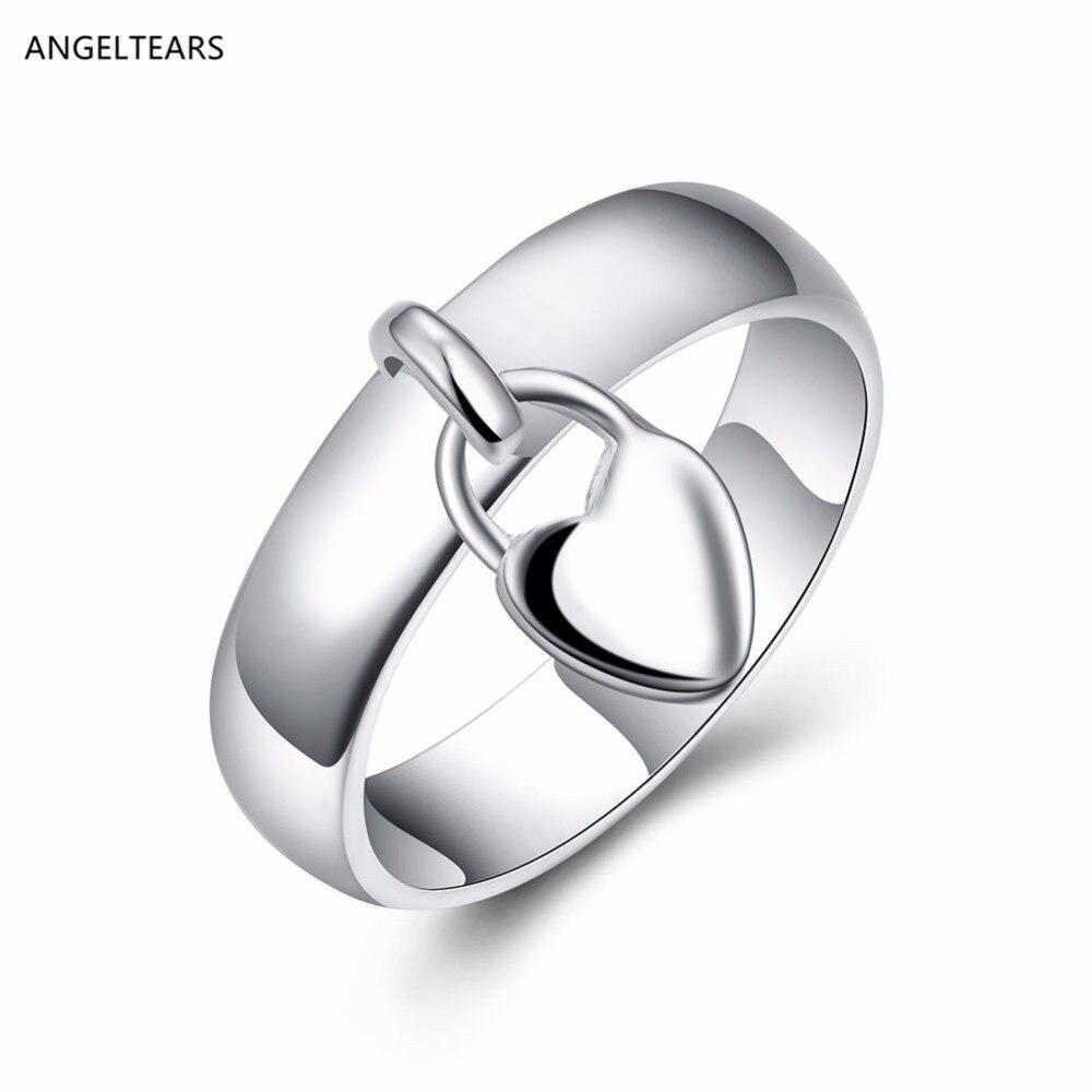 Diseño romántico candado de corazón de color plateado anillo de dedo colgante mujer chica joyería de moda regalo del día de san valentín tamaño 6-8 # anel