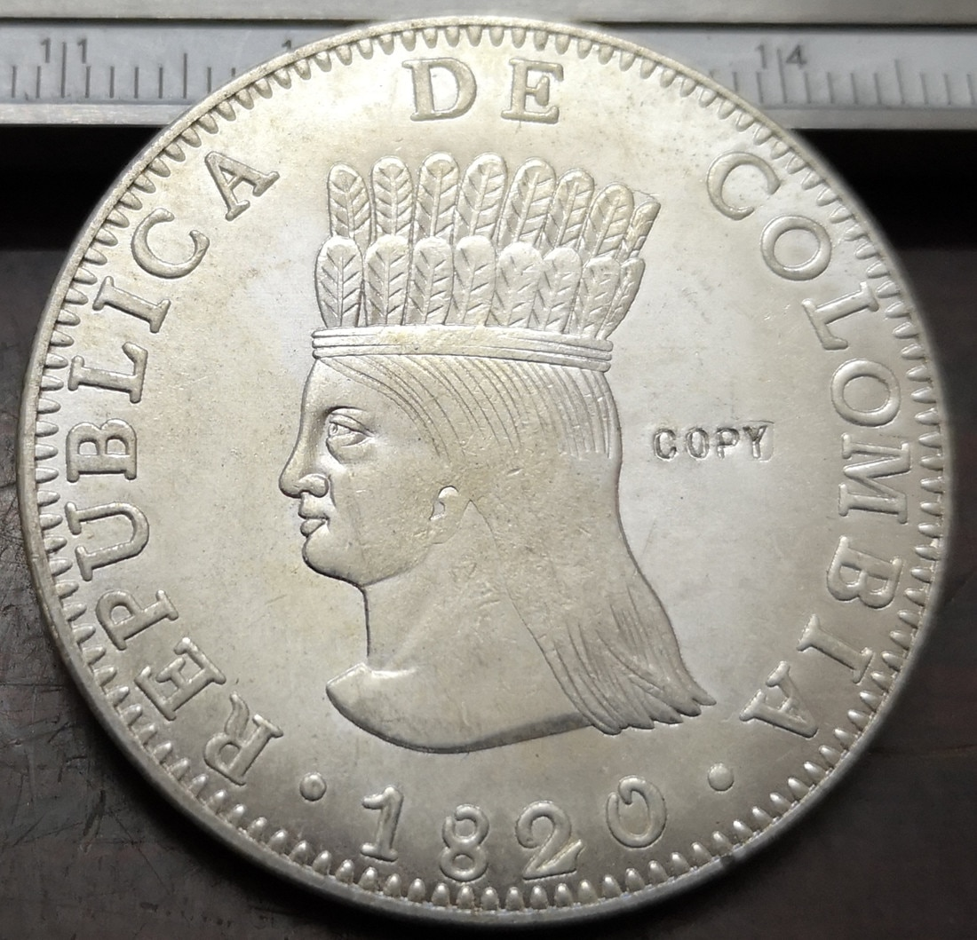 1820 Колумбия 8 Reales (Республика Колумбия-Gran Colombia) Посеребренная копия монеты
