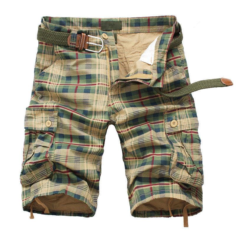 Men Shorts 2021 Fashion Plaid Beach Shorts Mens Casual Camo Camouflage Shorts Military Short Pants Male Bermuda Cargo Overalls