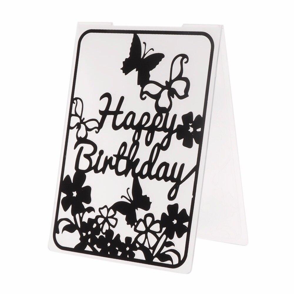 Modelo de pasta de gravação de plástico para diy scrapbook álbum de fotos cartão ofício de papel feliz aniversário borboleta-y142