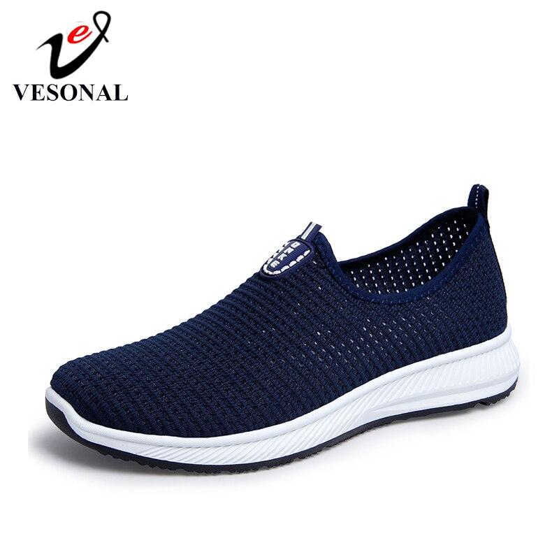 Vesonal 2020 verão respirável tênis de malha dos homens sapatos confortáveis deslizamento em sapatos masculinos mocassins calçados casuais caminhada aa02