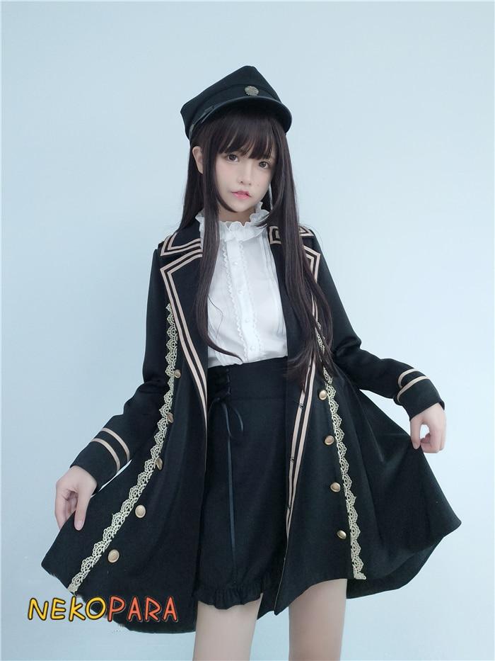 Legal militar swallowtail terno inverno feminino conjunto manga longa tailcoat trench + blusa branca + laço cruz fita shorts lolita