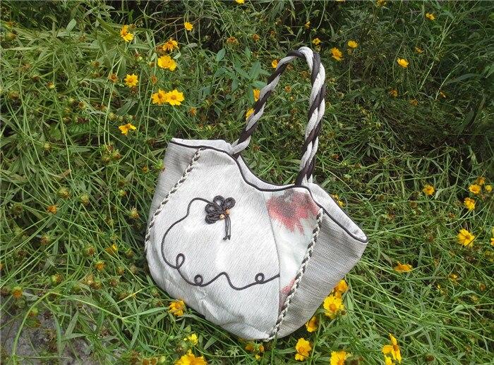 Модные сумки с бантом и аппликацией для покупок! Красивые женские сумки через плечо с национальным тиснением, винтажные холщовые сумки