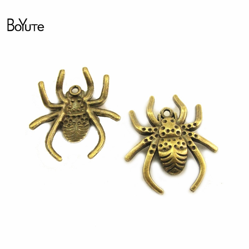 BoYuTe (50 unids/lote) aleación de Metal 29*25MM araña colgante encantos Vintage Diy accesorios de joyería hecha a mano