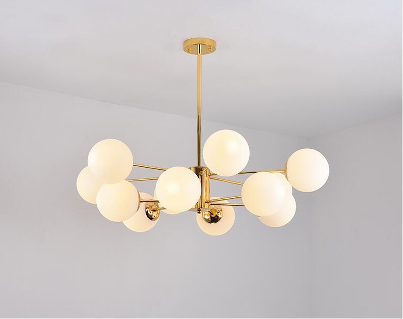 Lámpara nórdica postmoderna creativa de estilo molecular, lámpara de hierro extensible con Rama de bola de vidrio de frijol mágico