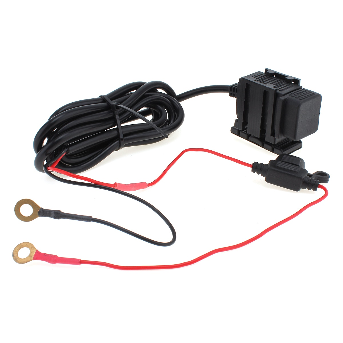 Dual USB 12V Durable Black Waterproof Motorcycle Handlebar Power Charger Supply Port Socket Suitable for Phone / GPS / MP4