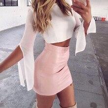 Rose marron femmes solide Sexy taille haute a-ligne Mini jupe en cuir PU été Streetwear chaud mini jupe sexy 2019 faldas mujer cg