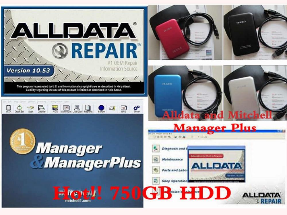 Coche caliente Software de reparación 750 GB HDD incluyendo Alldata y Mitchell Alldata 10,53 versión + Mitchell 2014 + Manager Plus