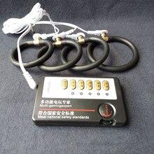 Shock eléctrico juguetes hombre fisioterapia pulso Kit de pene anillo Cock orgasmo pene estimulador masajeador, Juguetes sexuales para hombres adultos