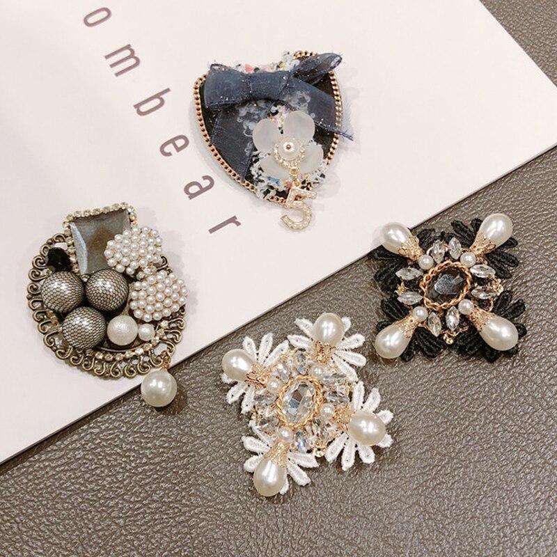 Marque Design cristal 5 broche camélia fleur hijab broches broches Vintage boucle broche pour femme