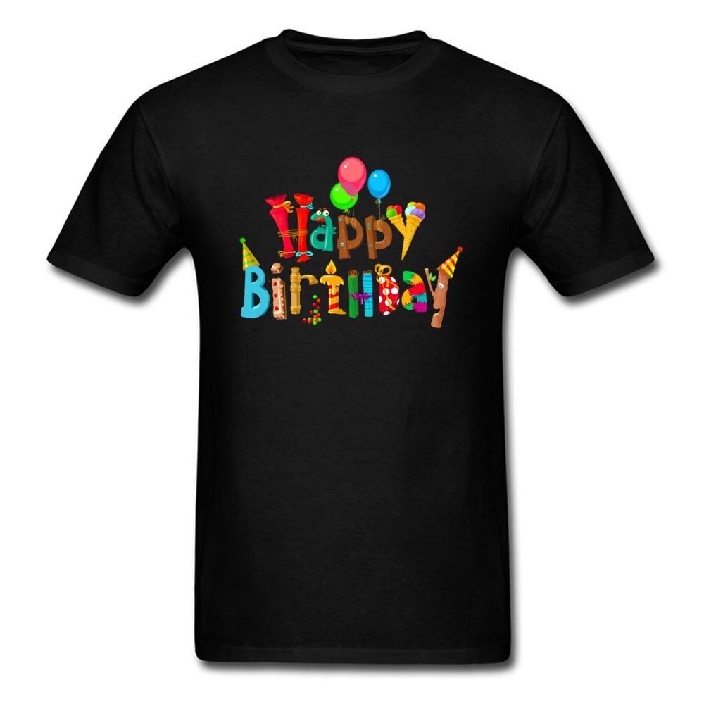 2018 nueva camiseta divertida de feliz cumpleaños con diseño de dibujos y letras para regalo de hombre Camiseta de talla grande Cool negro Tops y camisetas de manga corta