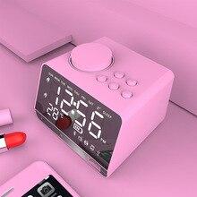Беспроводной Bluetooth динамик EXRIZU, настольные часы, FM радио, зеркальный светодиодный Будильник, сабвуфер, TF, AUX, U диск, музыкальный плеер для сна, спальни