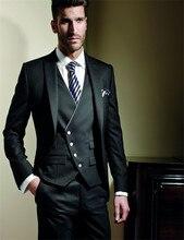 Vente chaude faite sur commande 5 pièces haute qualité 160s hommes de costume (jaqueta + pantalon + gilet + cravate) mariage occidental marié smokings de garçons dhonneur Costume