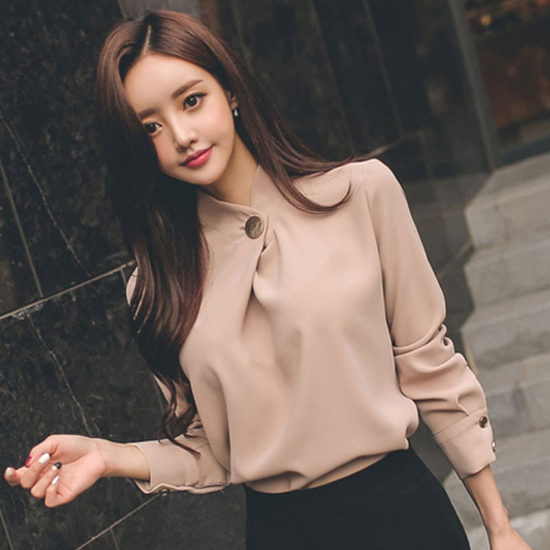 2019 Blusas Mujer De Moda Lange Ärmeln Stehkragen Lose Blusa vintage Chiffon Pullover Herbst OLstyle Frauen Bluse Hemd