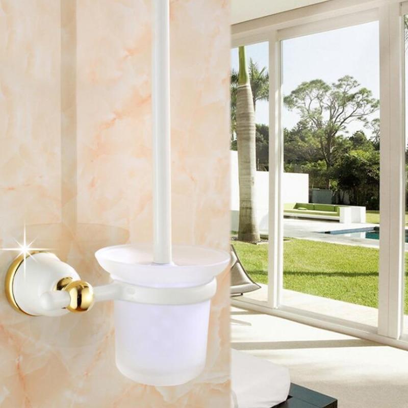 Accesorios de baño de porcelana Latón dorado soporte de cepillo de baño, productos de baño construcción TL126