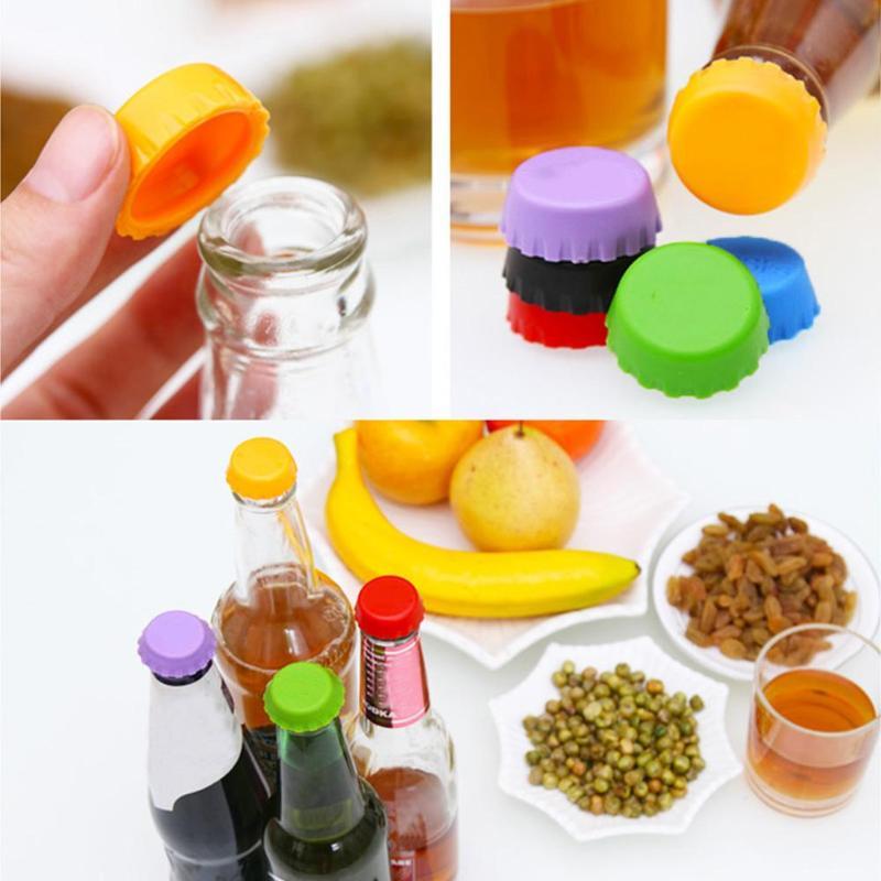 6 unids/set tapa de silicona de tapas de botellas de cerveza cubierta de botellas de coque de todo tipo de funda para bebidas tapa de herramientas de cocina