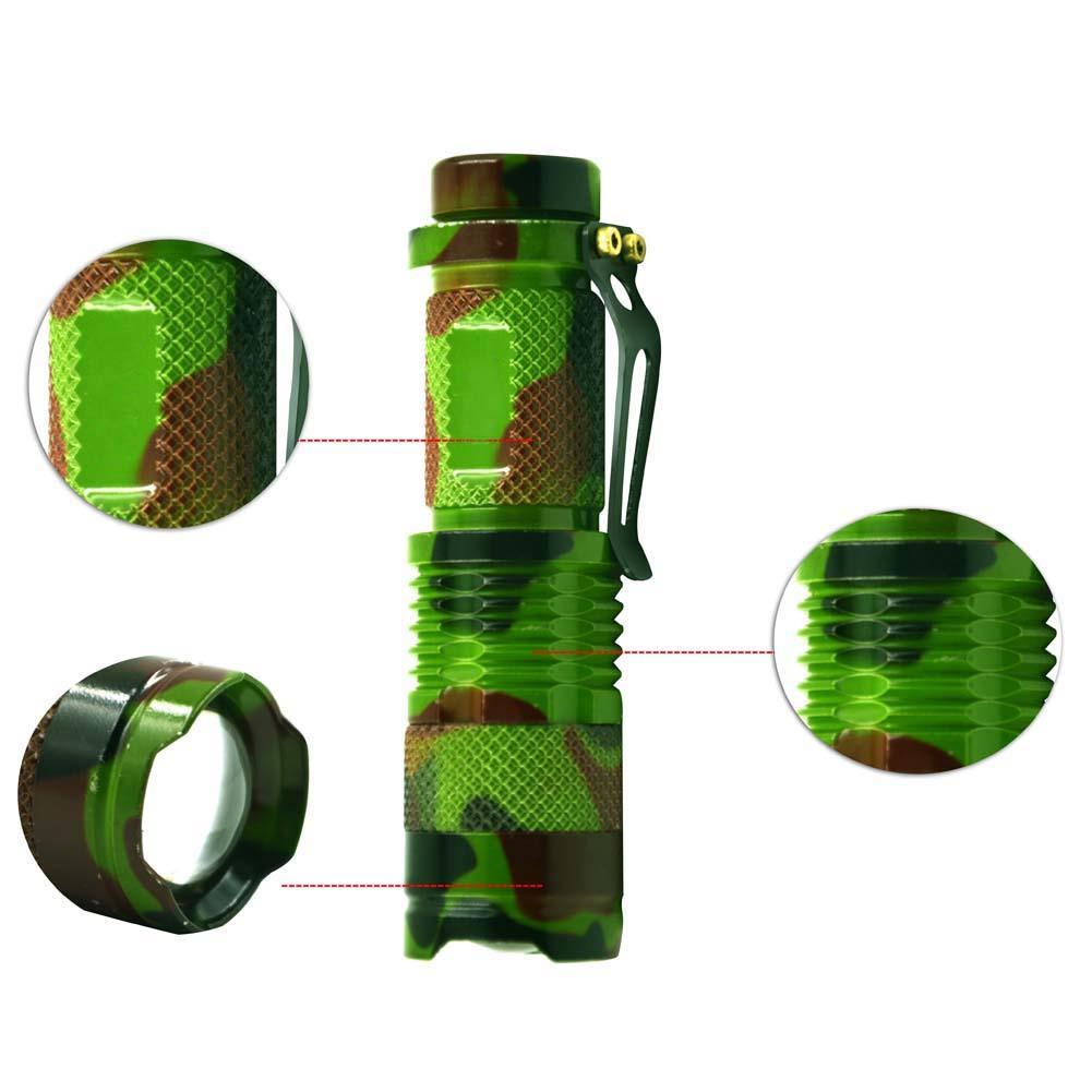 1200LM impermeable camoubyera verde del ejército Mini linterna LED Q5 luz LED Zoomable 3 modos linterna antorcha 14500 bolsillo Luz