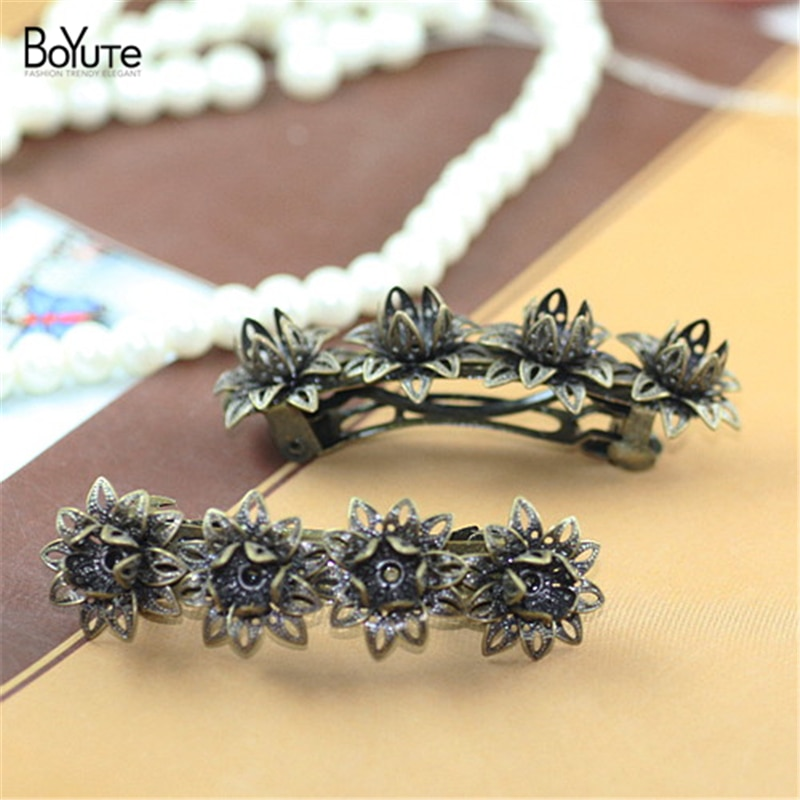 BoYuTe 5 Pieces Flower Hair Pin Wholesale Antique Bronze Plated Women Hair Clip cl0191