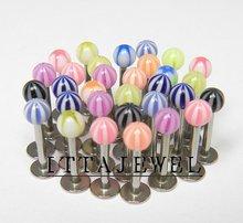 Wholesale 100pcs 16g UV Ball Labret Lip Monroe Rings Chin Tragus Bars,Body Jewelry,Piercing Jewellery