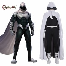 Cosplaydiy los cómics de superhéroes Caballero Luna Cosplay traje adulto disfraz de Halloween para hombre mono con capucha con capa de J10