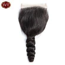 SVT Brezilyalı Gevşek Dalga Orta/ücretsiz/üç Bölüm 4*4 Dantel Kapatma 8-20 Inç Remy saç Doğal Renk 100% insan saçı örgüsü